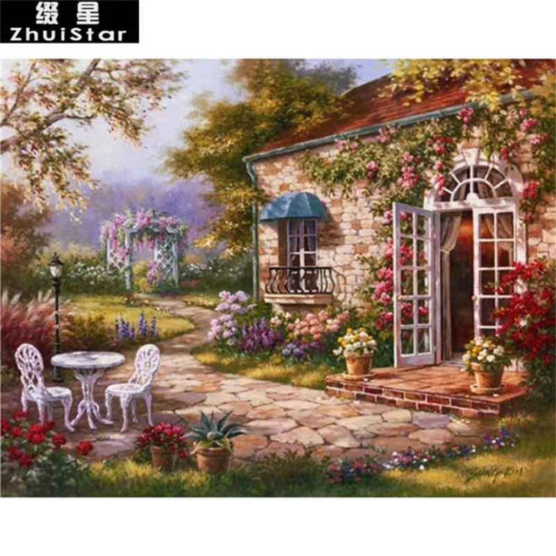 Flower Garden Diamond Painting Beautiful Scenery Design Embroidery Mosaic Decors