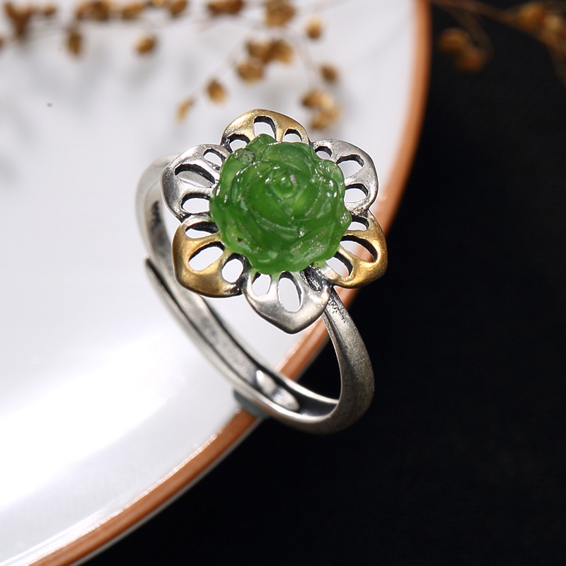 Rose Promotion Anel Feminino 2018 New S925 Pure Inlay Restoring Ancient Ways Hetian Ring Wholesale Rose Mosaic Female Openings 2018 direct selling anel feminino thai restoring ancient ways leading mosaic unique ring wholesale corundum man with ambition