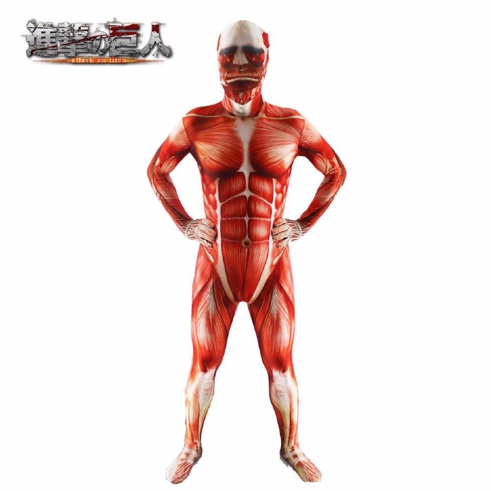 Anime Attack On Titan 3 Cosplay Costume Bertolt Hoover Muscle Zentai Muscular Suit Bodysuit Lycra Zentai Halloween Costume