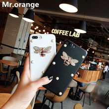 Фотография Fashion luxury Glitter Rhinestone Crystal Pearl Cute Metal Bee Leather Case For iphone 6 6s plus 7 7 plus Case Hard Back Cover