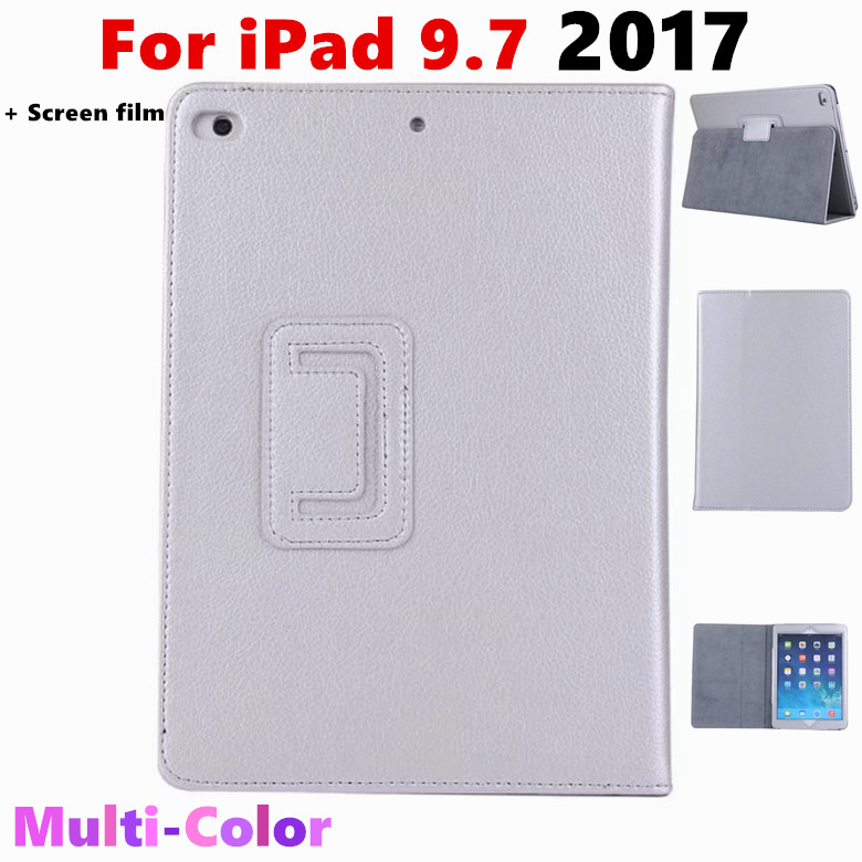 For iPad 9.7 2017 Litchi Grain Flip Cover PU Leather Case For Apple New iPad 2017 9.7 inch Tablet Case Protective shell +film case cover for goclever quantum 1010 lite 10 1 inch universal pu leather for new ipad 9 7 2017 cases center film pen kf492a