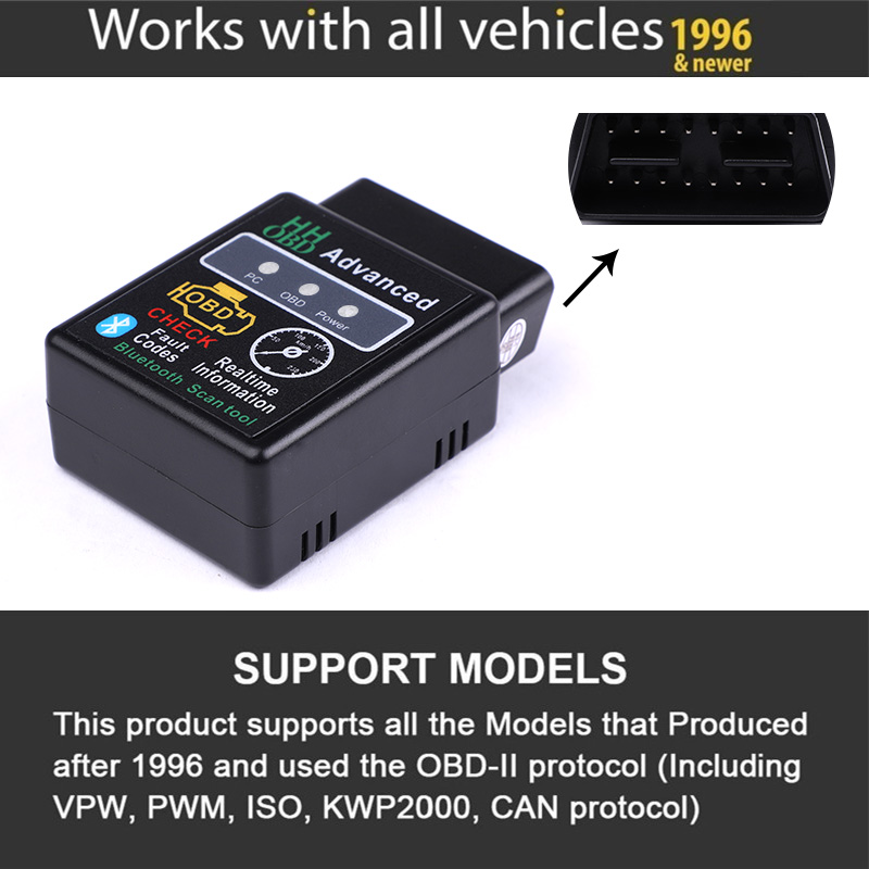HH OBD ELM327 Bluetooth OBD2 OBDII CAN BUS Check Engine Car Auto Diagnostic Scanner Tool Interface HH OBD ELM327 Bluetooth OBD2 OBDII CAN BUS Check Engine Car Auto Diagnostic Scanner Tool Interface Adapter For Android PC