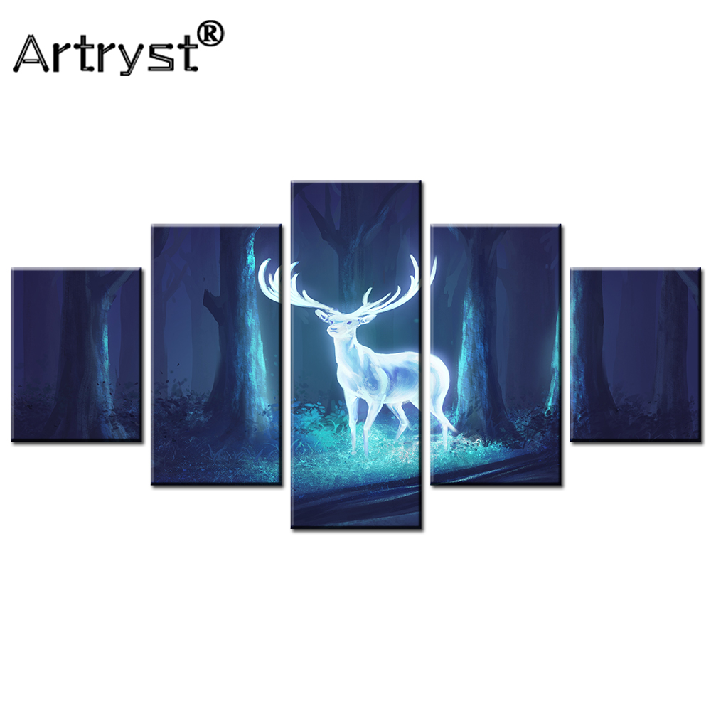 Animal Trees Blue Lightning Wall Art Large Poster /& Canvas Picture Deer Forest