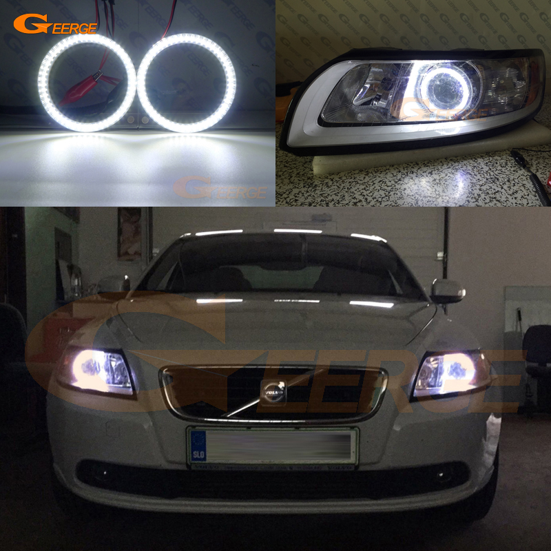 цена на For Volvo S40 V50 2008 2009 2010 2011 headlight Excellent DRL Ultra bright illumination smd led Angel Eyes Halo Ring kit