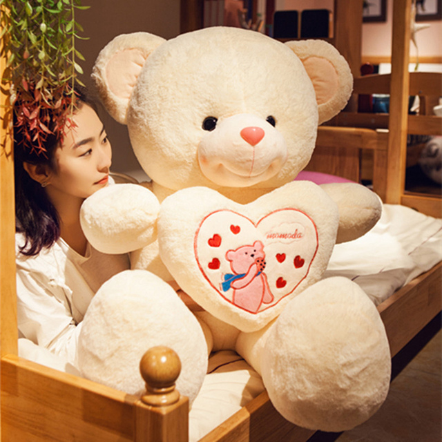 1pc Cute Big Teddy Bear Large Stuffed Plush Toy Holding Love Heart
