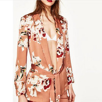 2017 Fashion Women S Suit Jacket Coat Printing Belt