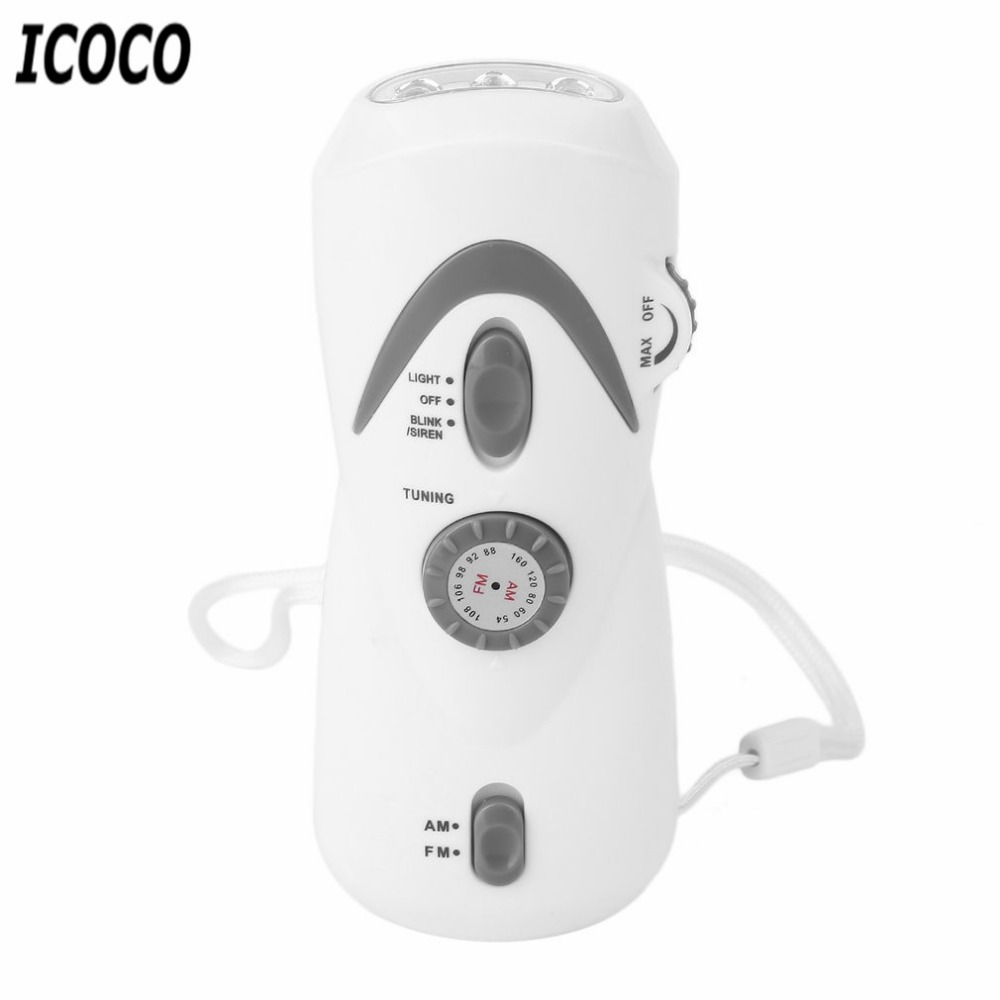 ICOCO White Color Crank Dynamo Emergency LED Flashlight FM/AM Radio Mobile Phone Charger with Manual Electricity Generation multifunctional crank dynamo am fm hand crank solar radio usb mobile phone charger led torch flashlight blutooth speaker