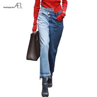 AEL Fashion Asymmetric Waistband Jeans Wide Leg Woman Ninth Pants Panelled Spring Autumn Casual Femme Denims