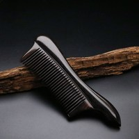 2019 Pure natural high quality ebony comb, short handle drum edge, dense teeth, small comb, hair brush Best Gift