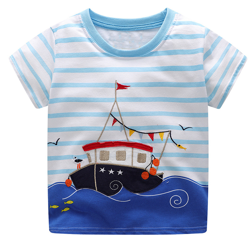 Boys Summer Clothes Children T shirts 2018 Brand Tee Shirt Fille Cotton Tops Kids Clothing Animal Pattern Baby Boy T-shirts crew neck colorful animal pattern tee