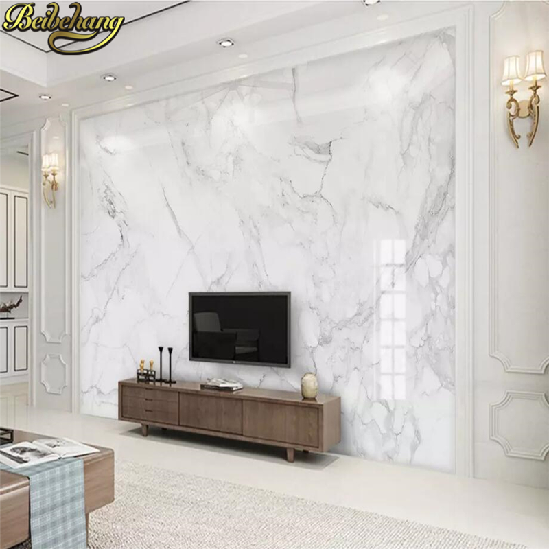 Beibehang Custom Photo Wallpaper 3D Mural Wallpaper Living Room Bedroom Sofa Backdrop Photo Wall Murals White Marble Wallpaper