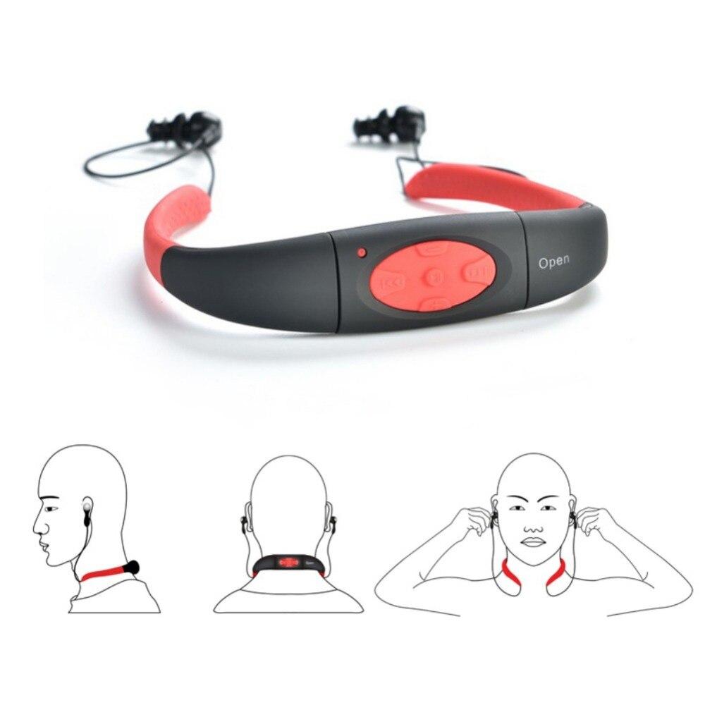 4GB 8GB MP3 Fone De Ouvido À Prova D' Água Esporte Natação MP3 Music Player Neckband Fone de Ouvido Estéreo de Áudio Fone de Ouvido com FM para mergulho