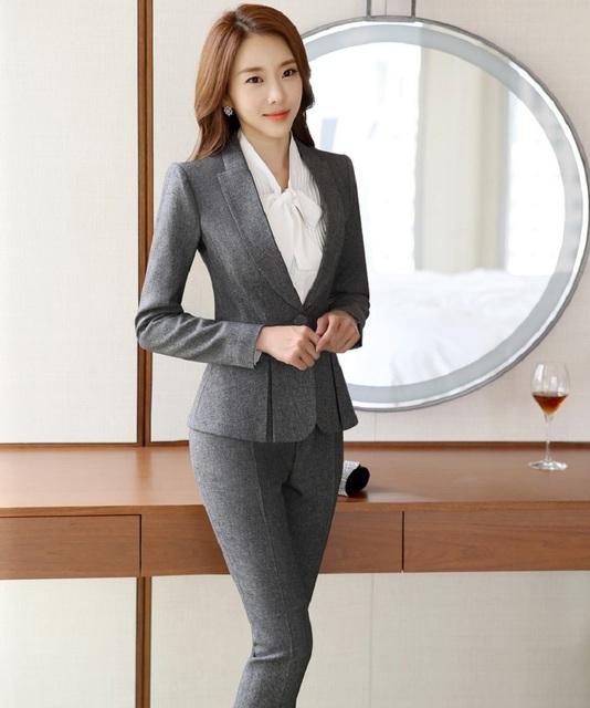 Novidade Cinza Escritório Ladies Trabalho Pantsuits Formais Ternos Com Calças Ternos Jaqueta E Calças Profissional Calças Definir Blazers