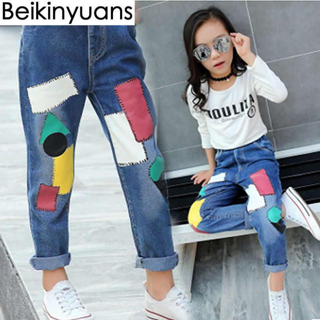 a9c3214231ed Children s Trousers Pants Big Girls Patch Korean Version Tide Girl ...