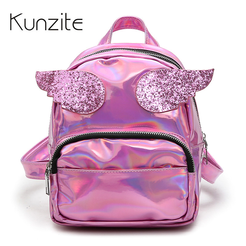 32e56112e0f US $18.35 49% OFF|New Women Hologram Laser Backpacks Daypack Girl School  Bag Fashion Female Pink PU Leather Holographic Bag Mochila Mini Backpack  -in ...
