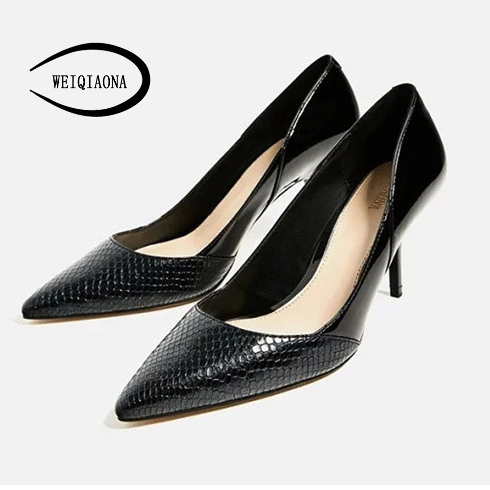 WEIQIAONA Occident vogue sexy snake pattern single shoes woman high heels girl fashion pumps mouth pumps sexy party shoes weiqiaona european 2018 women new fashion show leather snake skin rhinestone flowers high heel sandalss sexy ladies party shoes
