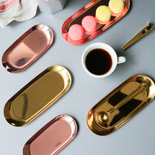 Nordic Penyimpanan Tray Rose Gold Plate Mewah Silver Oval Food Dish Piring Buah Perhiasan Display Tray Melayani Piring Dekorasi(China)