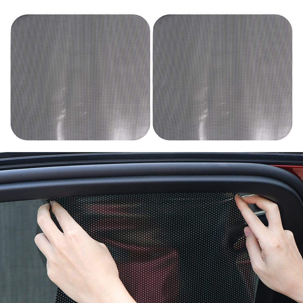 2pcs Summer Car Auto Side Window Mesh Film Curtain Windshield Net Sun Shade Visors Cover Sticker UV Protection Black