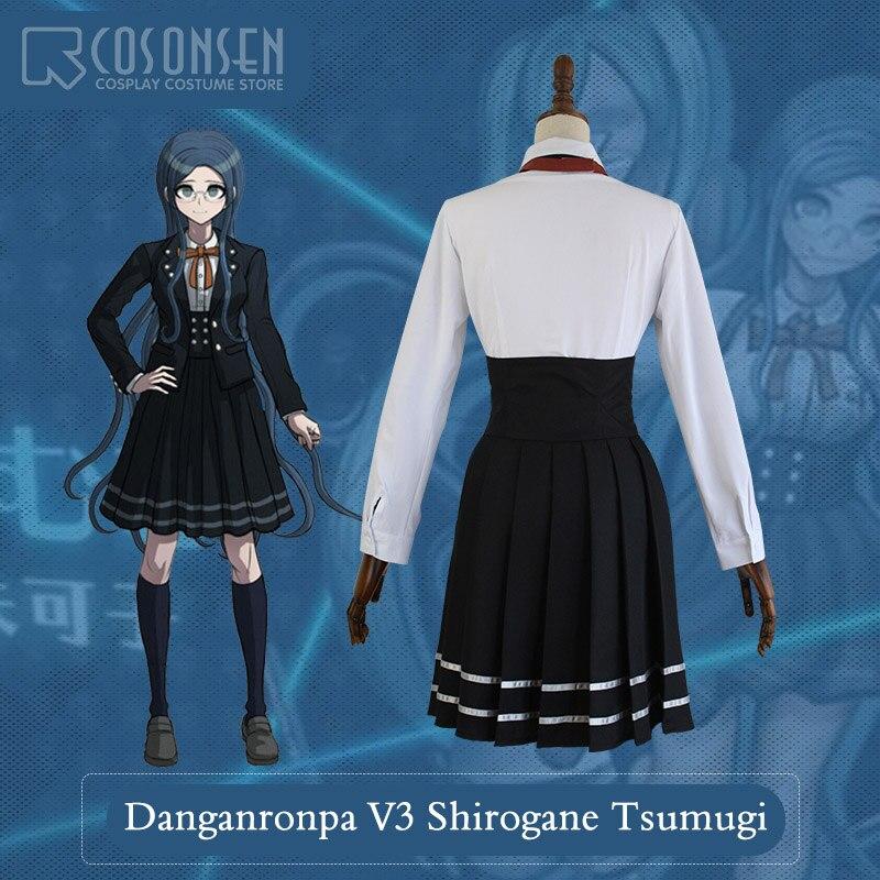 COSPLAYONSEN New DanganRonpa V3 Shirogane Tsumugi Dangan Ronpa V3 Halloween  Cosplay Costume Full Set Women Dress-in Game Costumes from Novelty    Special Use ... 891610df36f0