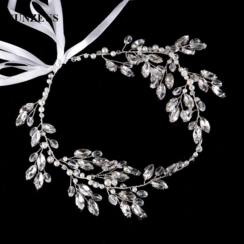 Clear Rhinestones Silver Bridal Sash Head Chain For Wedding Pearls acessorio de cabelo SQ0220