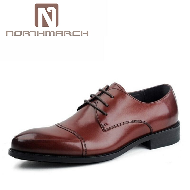 NORTHMARCH 2018 New Men Oxfords Business Casual Leather Men Dress Shoes Lace Up Breathable Minimalist Style Men Shoes