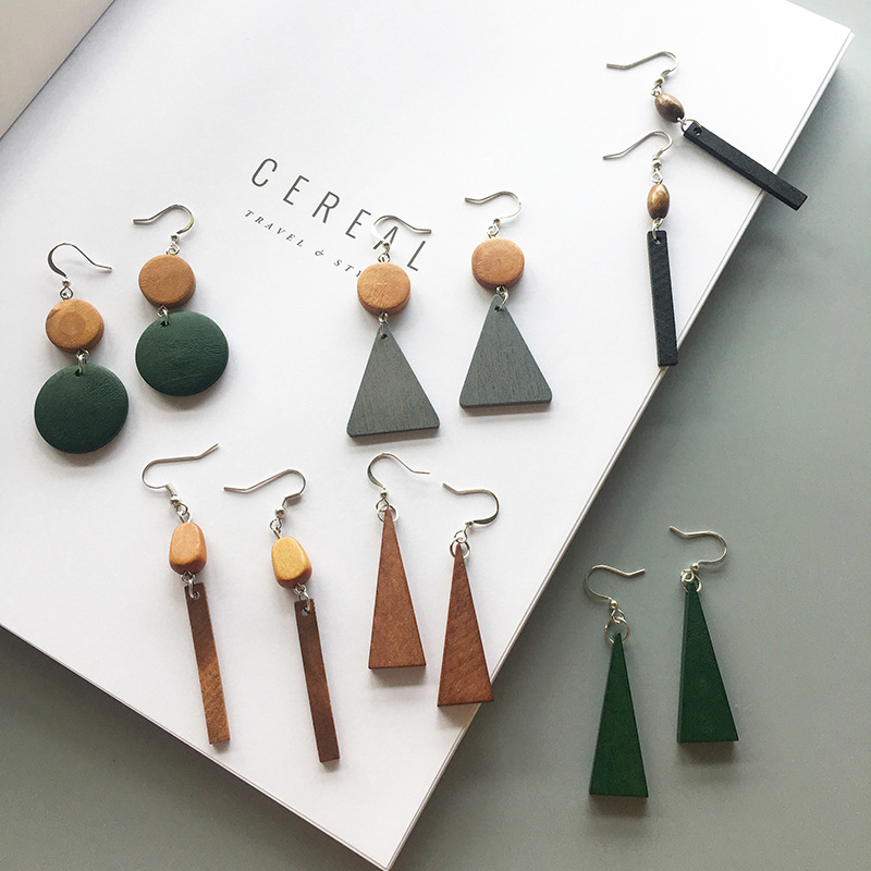 New 18 Style Simple Retro Wood Geometric Star Earrings Tassel Long Earrings For Women Alloy Jewelry Accessories 2020