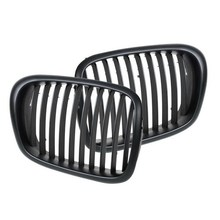 Matt Black Front Double Line Grilles Grill For BMW 5 Series E39 1995 2004 SR1G car styling accessories
