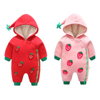 2019 winter New Baby Pack Strawberry clothing hooded thickening cotton baby girl clothes baby girl long sleeve romper