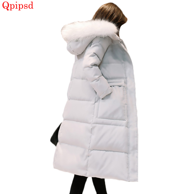 2020 Winter New Big Fur Collar Loose Down Coats Womens Thicken Warm White Duck Down Jacket Coat Female Long Hooded Down Parkas