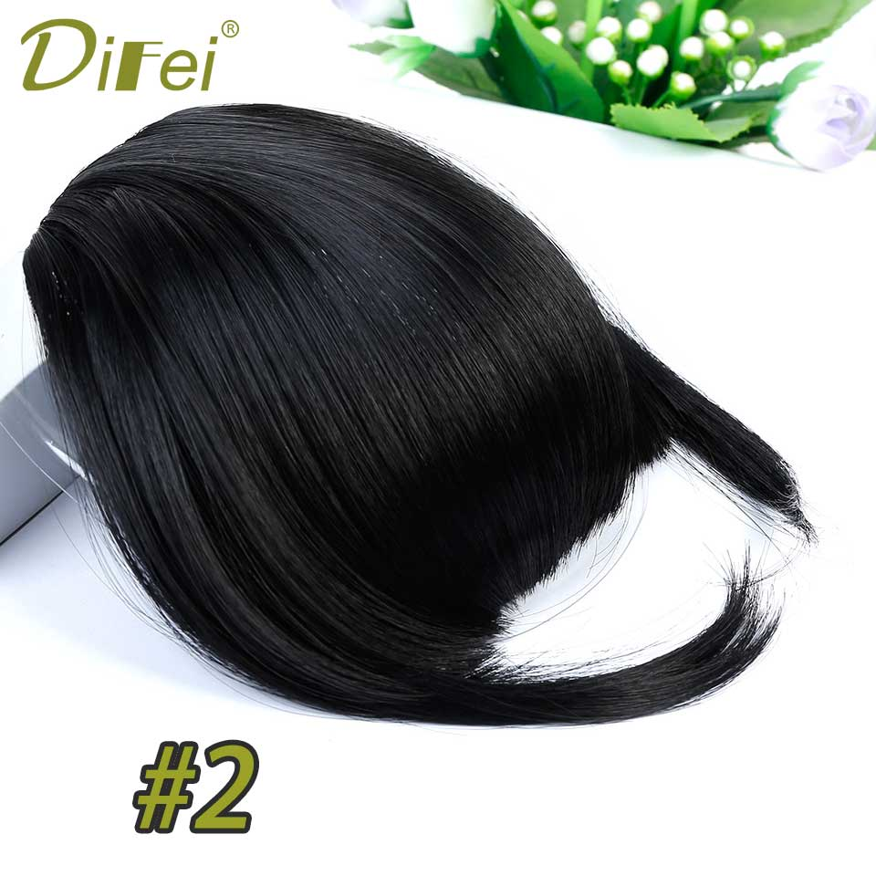 DIFEI Short Striaght Neat Bangs Clip In Synthetic Hair Extensions Front False Fringe Hair Piece Black Brown Blonde ...