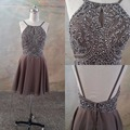 Real Images Brown Knee Length Short Cocktail Party Dresses Sexy Open Back Crystals Beaded Halter Prom robe de cocktail 2017  New