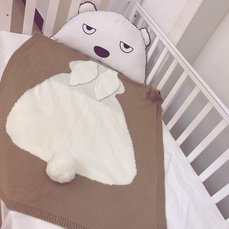Photo Props Knitted Baby Blanket Wrap Soft Blankets Newborn Swaddle Big Rabbit Ear Swaddling Kids Gift Girls Blankets