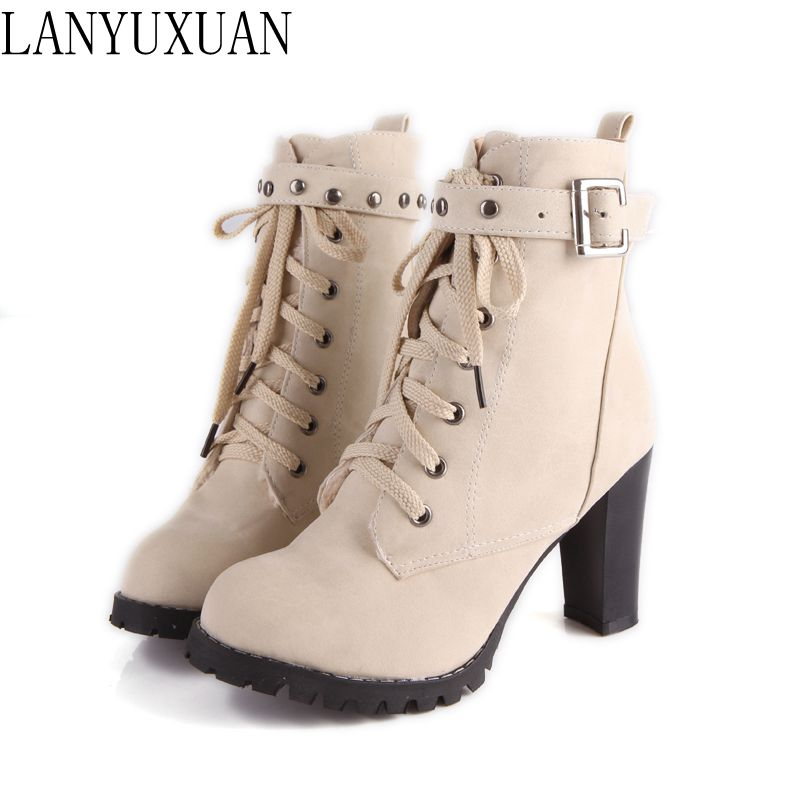 LANYUXUAN Big size 34-43 New Lace up Short Boots Women Sexy Ankle Boots High Heels Fashion Winter Spring Autumn Shoes Casual A89 new women sexy lace up knee high boots high square heels women boots winter snow boots casual shoes woman large size 34 46