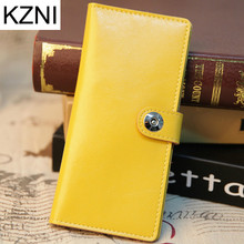 KZNI Wallet Female Designer Women Purses Genuine Leather Purse Portefeuille Femme Billeteras Para Mujer
