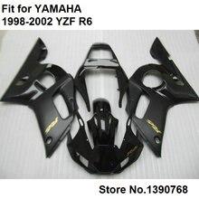 Компрессионное формование кузовов обтекатели для Yamaha матовый черный YZF R6 98 99 00 01 02 обтекателя комплект YZFR6 1998-2002 LV55