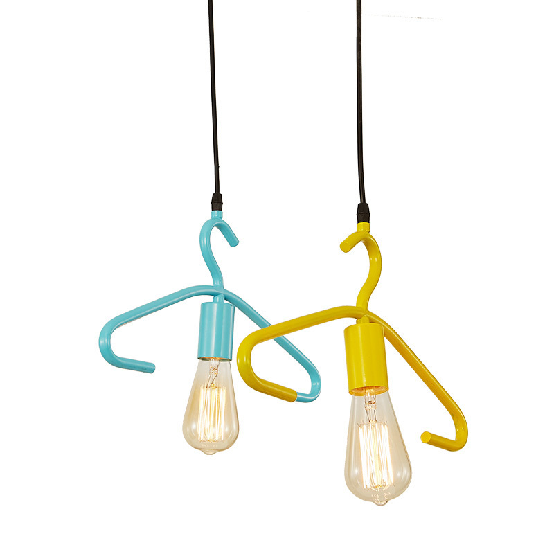ФОТО Minimalist Art Iron Pendant Light Nordic Creative Blue Yellow Hanging Lamp Window Display Clothing Store Lighting Fixtures PL562