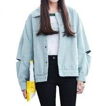 Autumn Fashion Women Loose Ripped Hole Denim Jackets Coat Turn-down Collar Casual Basic Jacket Women Jean Outwear