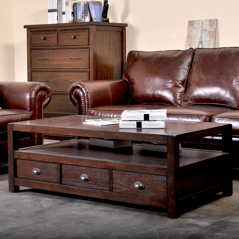 Country Oaks Apartments: American Country Minimalist Wood Coffee Table Tea Oak