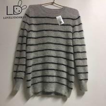 LOVELYDONKEY echten nerz cashmere pullover männer reine streifen pullover pullover freies verschiffen großhandelspreis m303