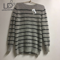 LOVELYDONKEY genuine mink cashmere sweater men pure stripe sweater pullovers sweater free shipping Wholesale price m303