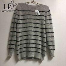LOVELYDONKEY genuine mink tarja camisola dos homens suéter de cashmere puro camisola pullovers frete grátis preço de Atacado m303