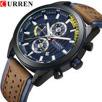 CURREN Fashion Unique Color Leather Quartz Men Watches Multifunction Casual Wristwatches Waterproof Clock Relogio Masculino