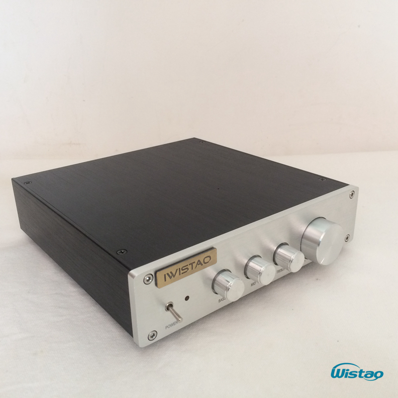 IWISTAO HIFI Preamplifier Tone Adjustment Bass Tremble Middle OPA2604 LME49720 Whole Aluminum Casing Class A Power Stereo Audio iwistao hifi amplifier 2x100w transistor power amp 2sa1216 2sc2922 burmester fully symmetric dc coupled whole aluminum chassis