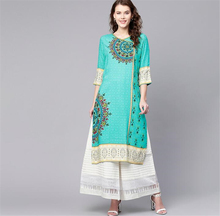 Print Costume India Woman Ethnic Styles Set Cotton Dress Three Quarter Sleeve Elegent Green Lady Long Top