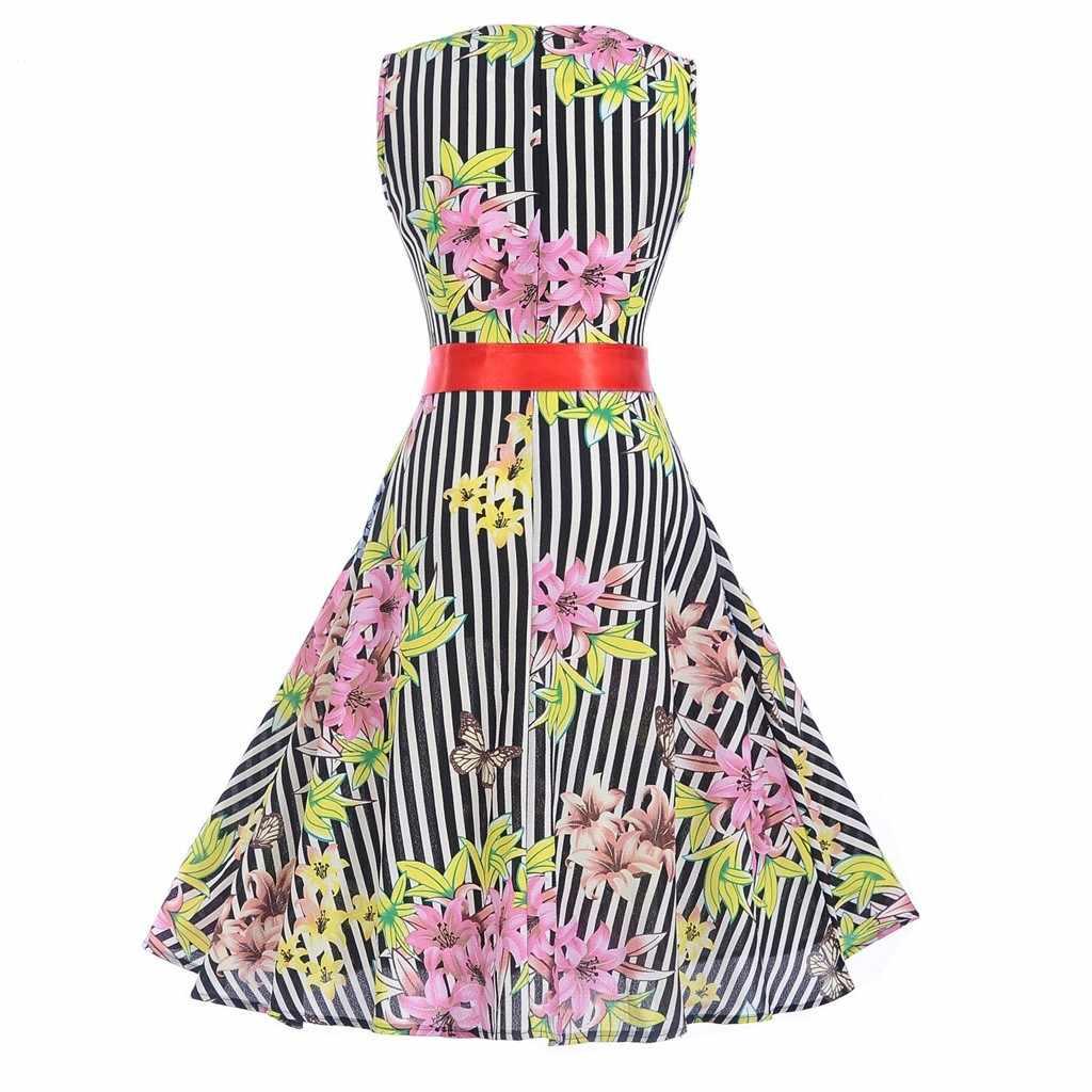 Vestidos verano 16 kleider frau party nightWomen Vintage 16 s Retro  Sleeveless Oansatz Druck Party Prom Schaukel Kleid kleiden