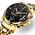 OLMECA мужские часы с хронографом спортивные золотые часы, водонепроницаемые кварцевые мужские часы с коробкой Relogio Masculino