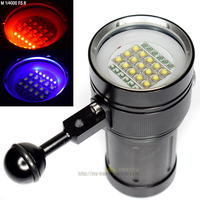 Highlight 25000LM Underwater Video Diving Flashlight Out LED15x Cree XML2 White Light +6 395nm UV light +6 Red Light Dive Torch