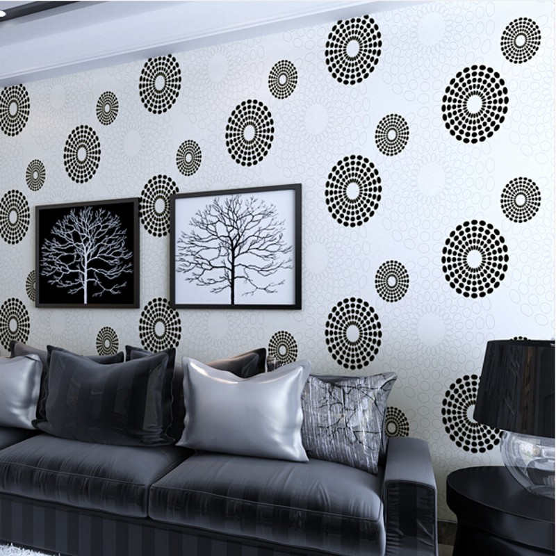 wallpaper Modern minimalist Non-woven Wallpaper Black and White Circles home decor background wallcovering 3d papel de parede R4