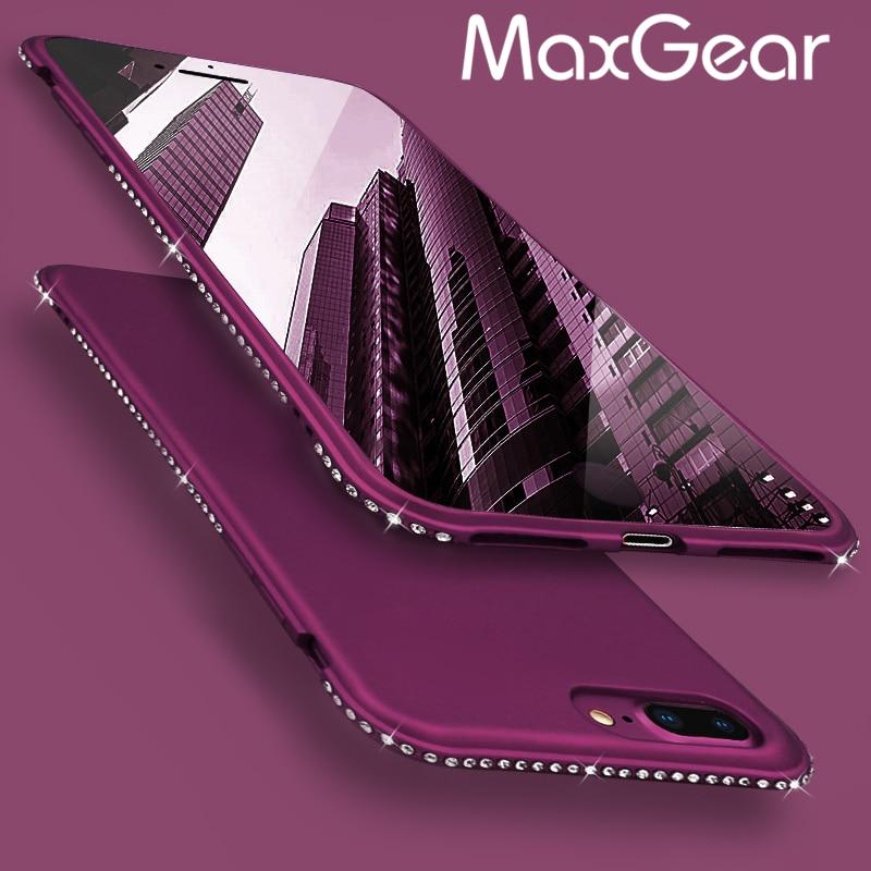 MaxGear Rhinestone Silicone Case For iPhone 6 6S Plus Cases Glitter Matte Luxury Diamond Cover For iPhone 7 8 plus Cases Coque