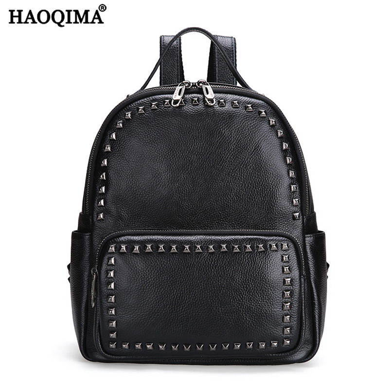 HAOQIMA Genuine Leather Luxury Brand New Design 2017 First Layer Cowhide Women Backpack Girl School Bag